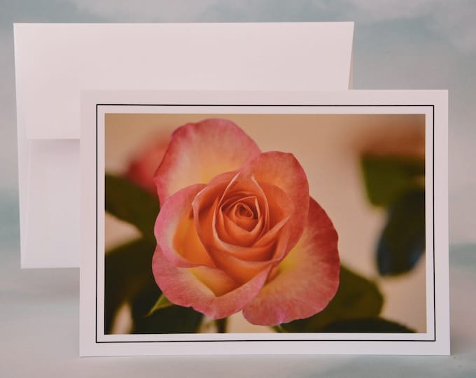 Yellow Peach Rose Photo Note Card - Blank Note Card
