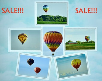 SALE - Hot Air Balloons Note Cards - Blank Note Cards