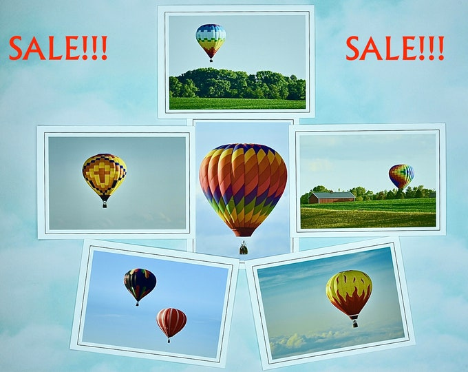 SALE - 6 Hot Air Balloons Blank Note Cards - Half Price!