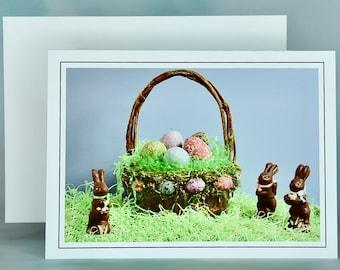 Easter Spring Note Card - Blank Note Card - Easter Greeting Card - Easter Basket - Easter Eggs