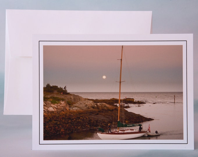 Coastal Photo Note Card - Retuning to the Cove in Moonlight - Blank Note Card