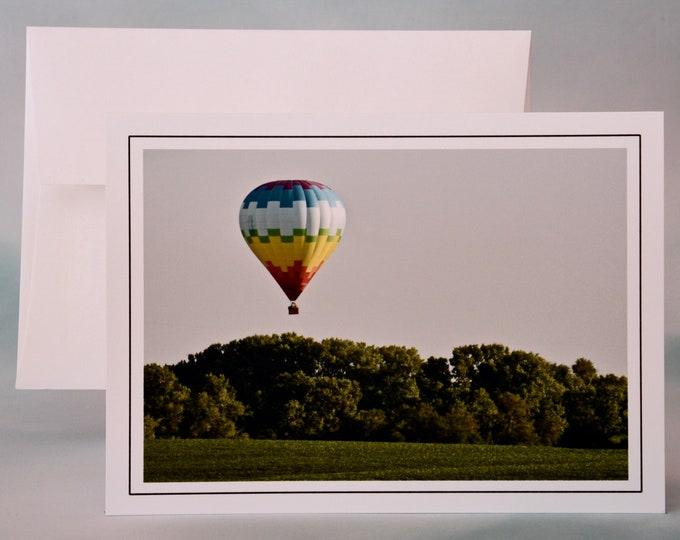 Hot Air Balloon Landing Photo Note Card - Blank Note Card