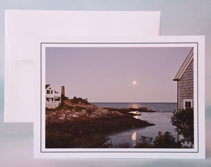 Coastal Photo Note Card - Blank Note Card - Moonrise over the Cove