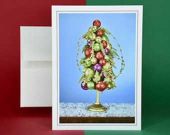 Christmas Holiday Card SAVE! - Buy MORE and SAVE - Decorated Holiday Tree in Snow