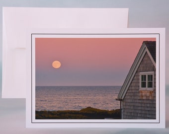 Coastal Photo Note Card - Blood Moon Rising Over the Ocean - Blank Note Card