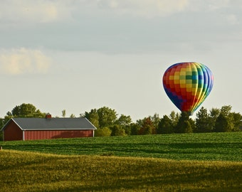 Hot Air Balloon Landing Print - Blank Photo Note Card