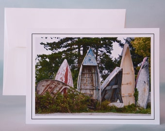 "Coastal Photo Note Card - ""Boat Henge"" - Blank Note Card - Maine Coast"