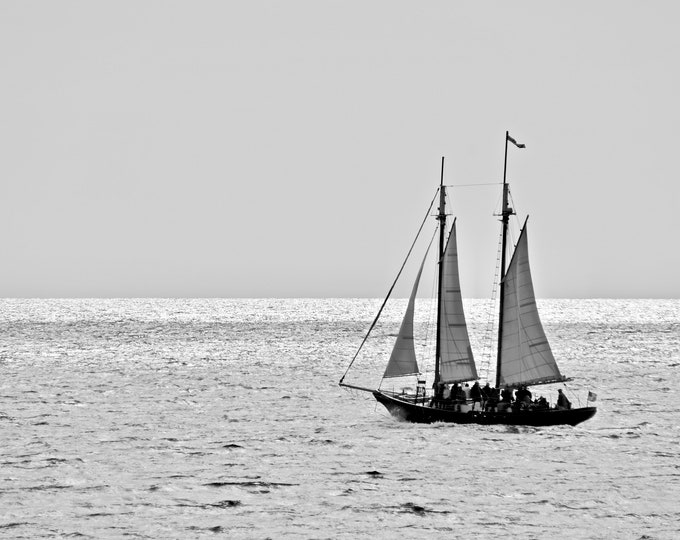 Sailing Photo Print - Black & White Print - Sailing out of Kennebunk Harbor