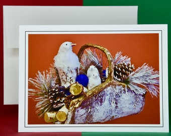 Christmas Holiday Card SAVE! - Buy MORE and SAVE - Ptarmigan Family in Basket