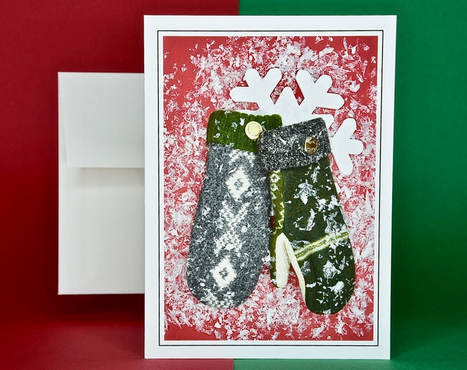 Christmas Holiday Card SAVE! - Buy MORE and SAVE - Pair of Cozy Warm Mittens in the Snow