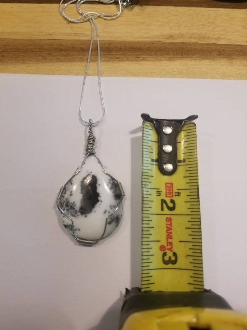 Dendrite opal agate necklace merlinite handmade reiki infused