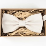 Ivory color linen butterfly mens bow tie / Boyfriend gift / Wedding bow tie
