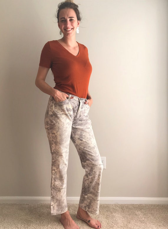 Vintage 90's Gray Floral Print Cavalli Jeans/ 199… - image 1