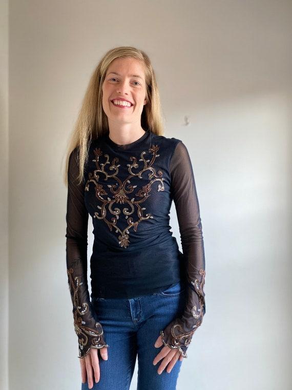 90's Black Gem Embroidered Shirt/ 1990's Long Slee