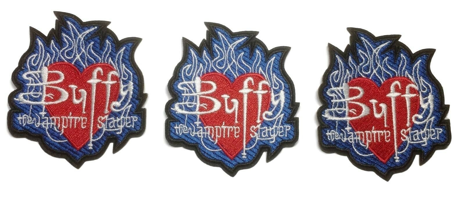 on 9cm Buffy Vampire Slayer Flames Badge Embroidered Patch Sew//Iron