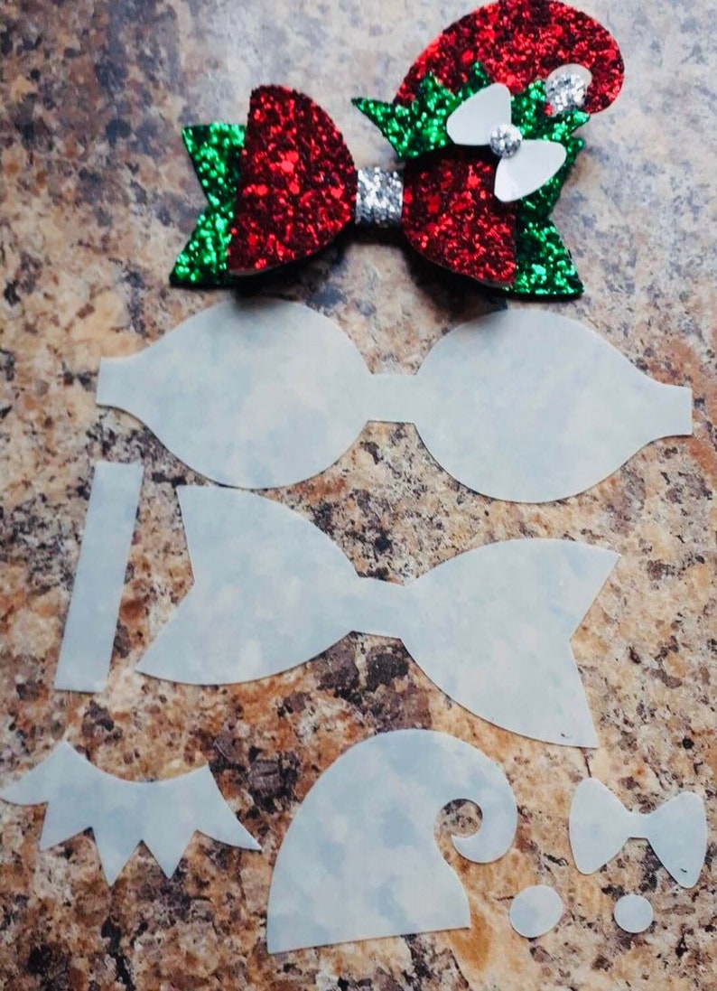 Christmas Hair Bow Template.Bow Template Christmas Hairbow Hair Bow Template Christmas Bow Santa Hairbow Plastic Bow Template Make Your Own Bows Reindeer Template