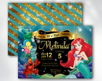 THE LITTLE MERMAID Invitation The Little Mermaid Birthday Disney Princess Supplies Invite Instant Access