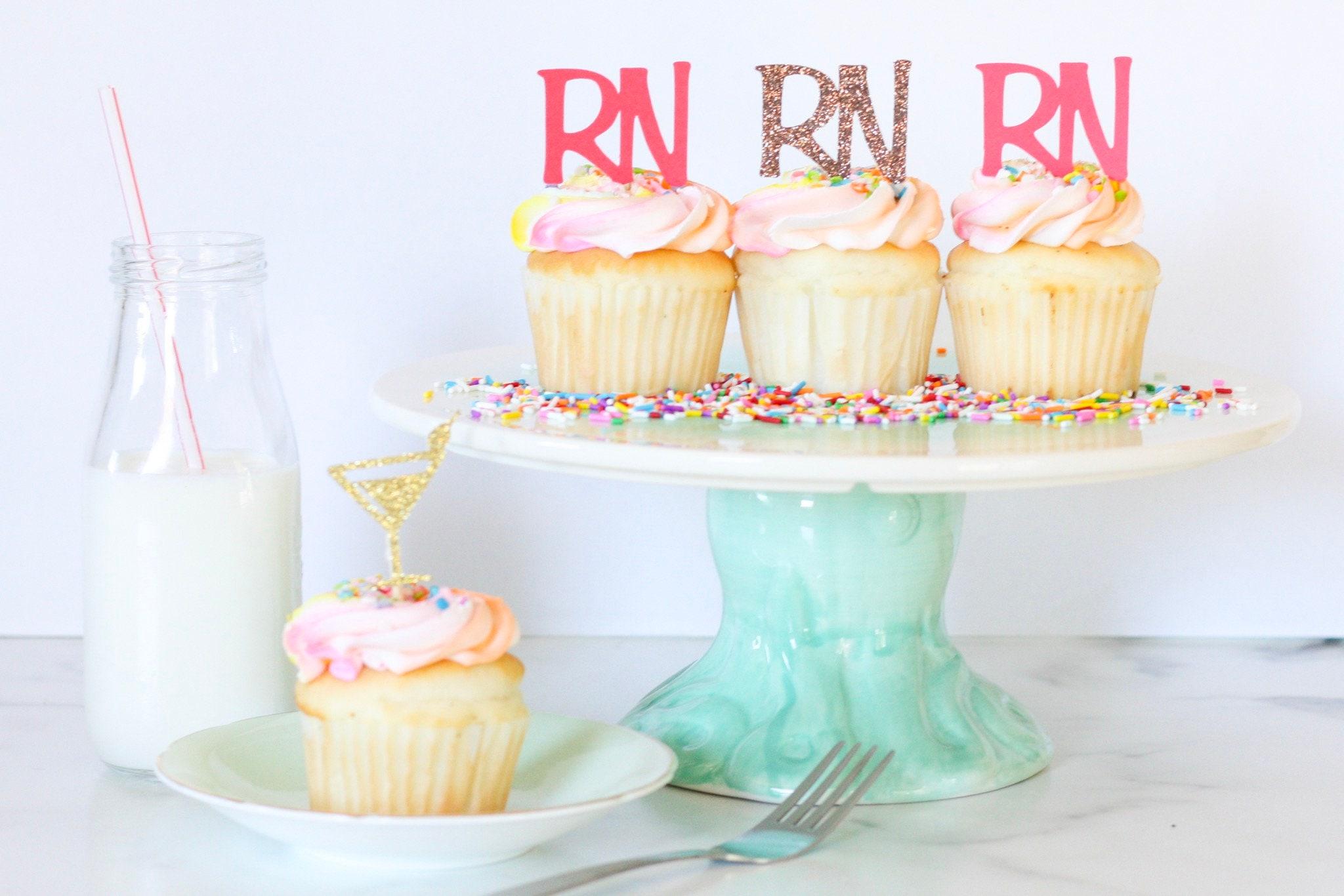 Unicorn Cupcake Topper Pick 6//12 en 29 colores Glitter Birthday Cake Toppers
