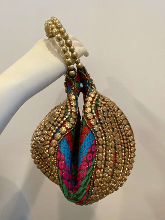 Unique Handmade Wristlet Purse , Handcrafted Ethni
