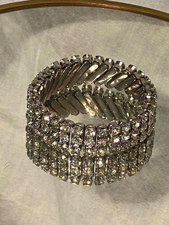 Vintage Rhinestone Hollywood Glam Expansion Bracel