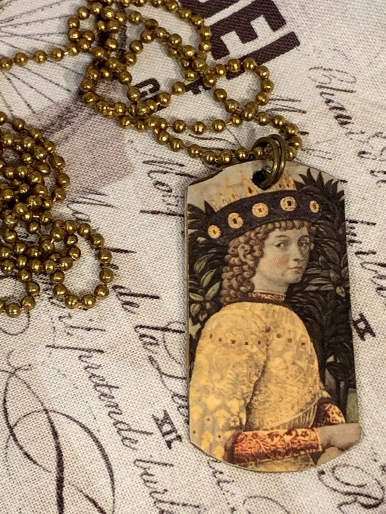 Handmade Unique One Of a Kind Vintage Style 30 Aged Brass Ball Chain Long Necklace Medieval Picture On Aged Brass Dog Tag