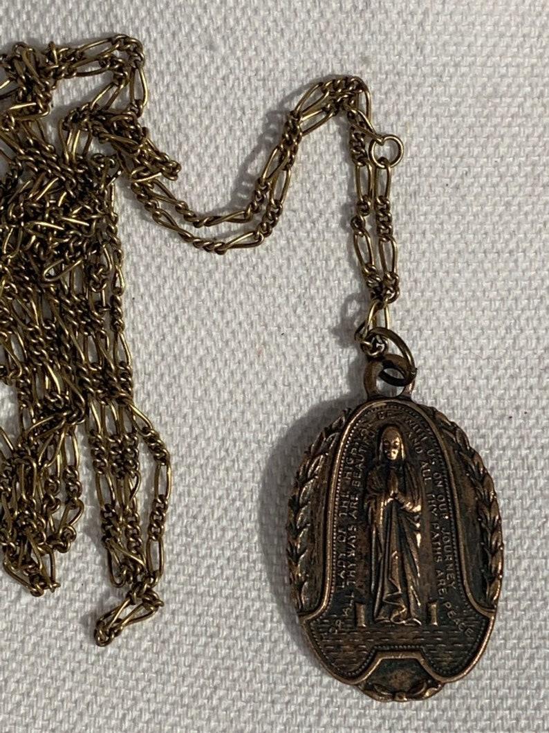 Beautiful Religious Vintage Large Catholic Medal Reversible Antique Pendant Necklace