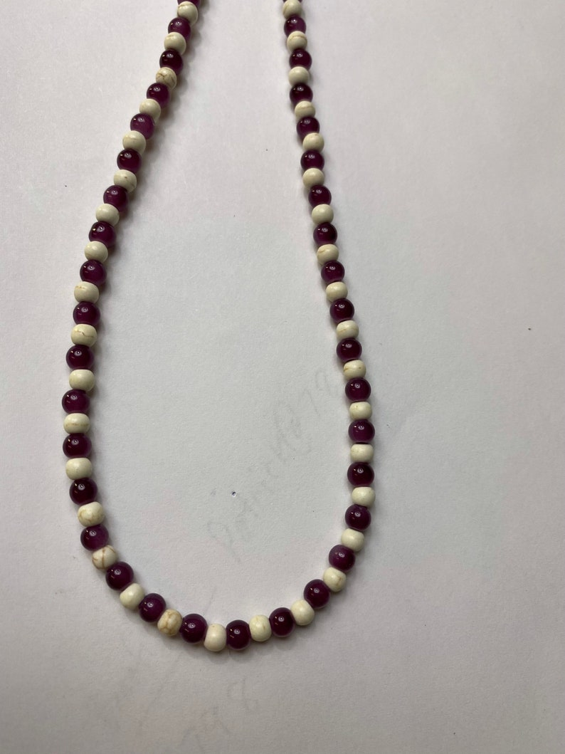 Amethyst necklace with cream color howlite beads