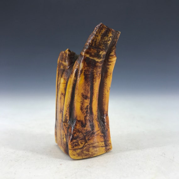 Chinese antique real hippo tooth carved seal