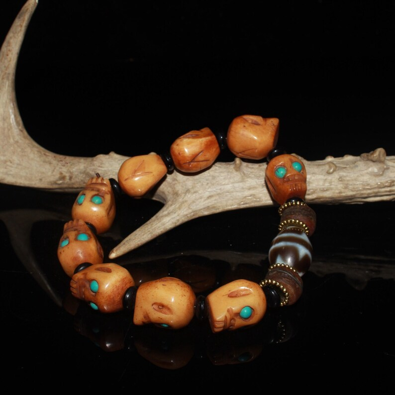 Early collection of gemstone ox bone skull dzi bracelet ornaments