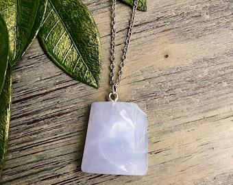 Chalcedony Onyx Cabochon Slab Chalcedony Slab Onyx Polished Rough Slice Rose Chalcedony Onyx Crystal Slice for Necklace Jewelry