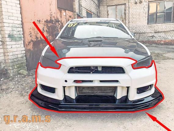 4PCS Carbon Painted Bumper Canards Splitters Lip for Mitsubishi Lancer EVO X 10