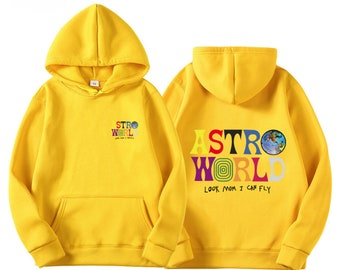 7382237e5739 Travis Scott ASTROWORLD Printed , Look Mom I can Fly Hip Hop Hoodie &  Sweatshirt