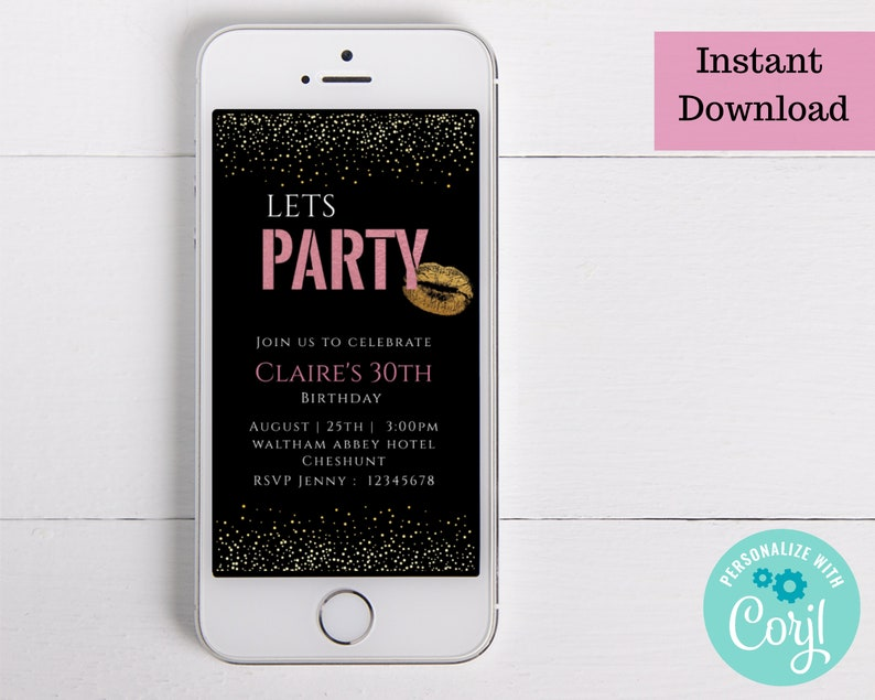 You can download customise and share instantly. Editable instant download Electronic birthday invite with pink and black design