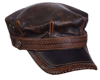 ba9453dce Leather driver hat | Etsy