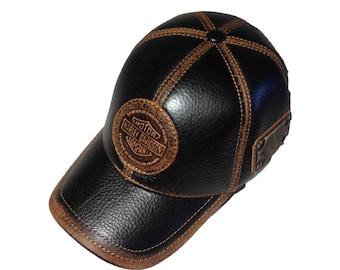 becc4b321 Leather harley hat   Etsy