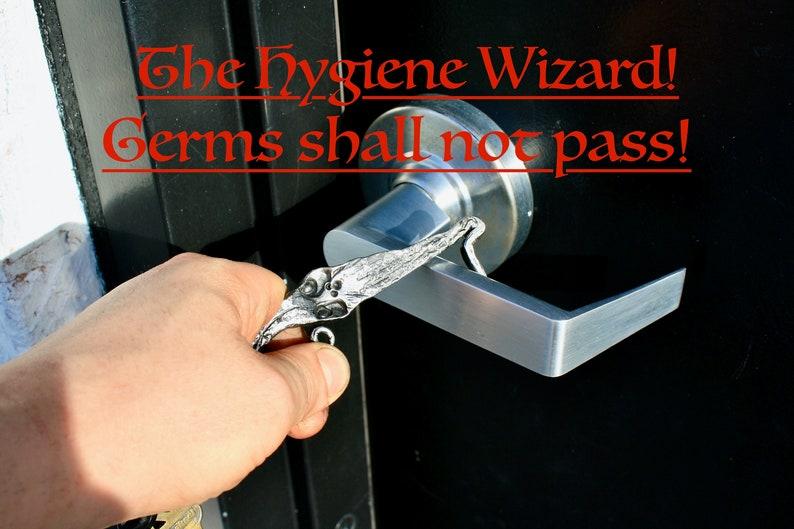 EDC door opener keychain tool The Hygiene  Wizard!! button pusher