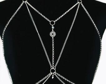 Spiritual body chain unisex, festival body jewelry, tribal harness chain adjustable