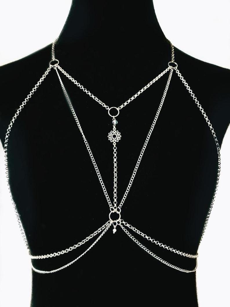 handmade body chain Spiritual body chain festival body chain bralette chain harness chain vacation jewelry dress body chain