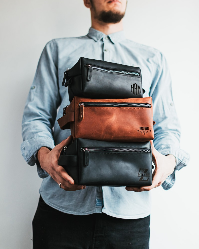 Exquisite craftsmanship, high-quality leather, and waterproof. These features give an exact description of this toiletry bag. Plus, it'll come in handy for a guy with too many toiletries to bring along.