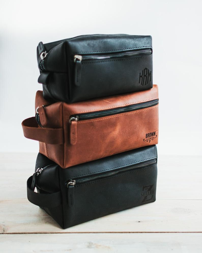 Personalized Leather Toiletry Bag Men/'s Dopp Kit Groomsmen Gift Mens Toiletry Bag Shaving Kit Leather 3rd Anniversary Gift for Husband