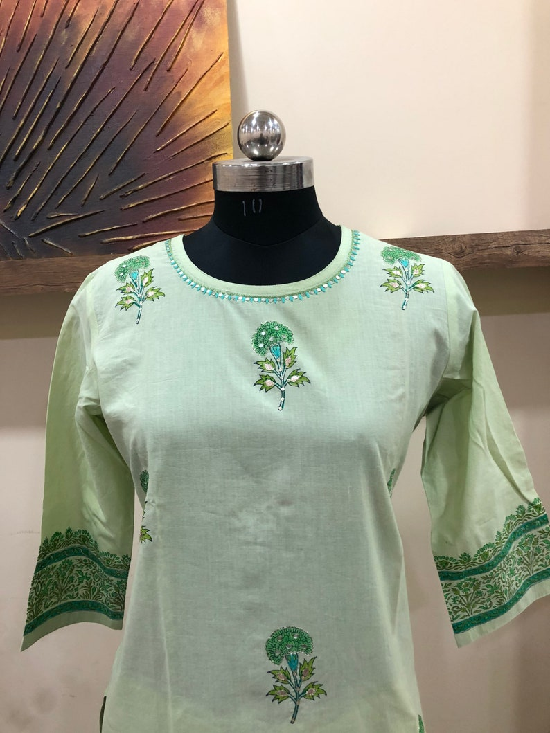 Cotton fabric block printed with handwork stitched kurti palazzo for ladies