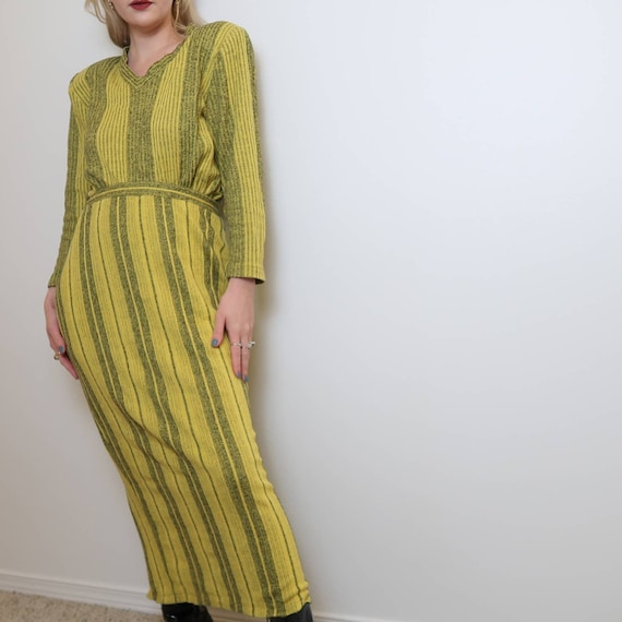 Vintage 70's yellow striped two piece knit set