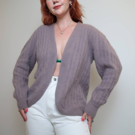 Vintage 90s grey lilac angora cardigan sweater M - image 1