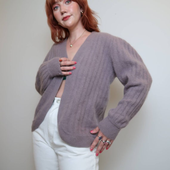 Vintage 90s grey lilac angora cardigan sweater M - image 4