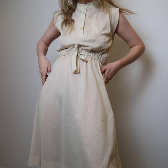 Vintage 70's cream midi dress