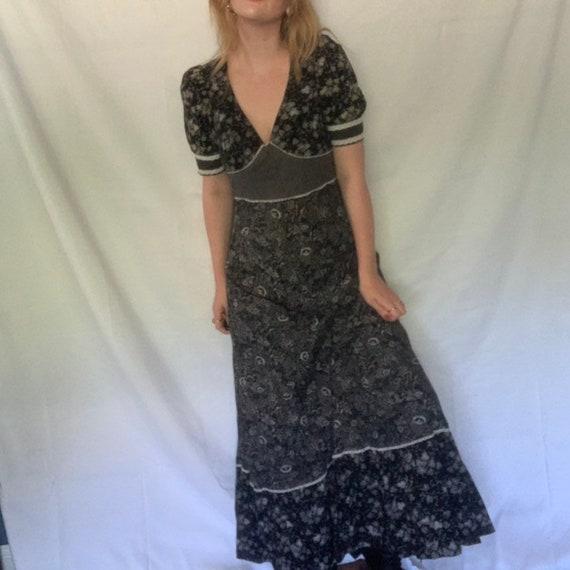 RARE 1970's black and cream prairie maxi dress