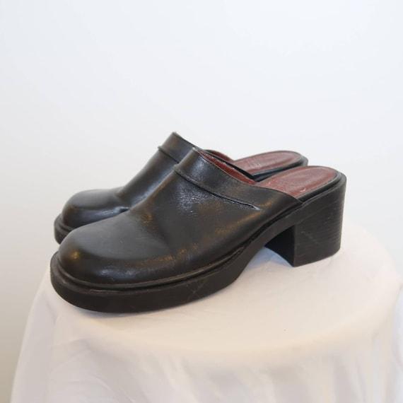 Vintage 90s Nine West black leather chunky mules 8 - image 4