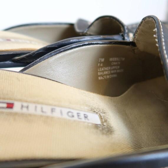 Vintage 90s Tommy Hilfiger black leather mules Si… - image 7