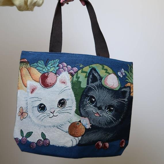 Vintage NWT cat tapestry tote bag