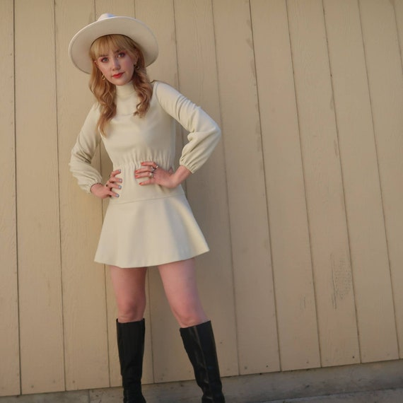 Vintage 60s MOD cream long sleeve mini dress S - image 5